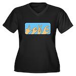 Love & Peace hands Women's Plus Size V-Neck Dark T