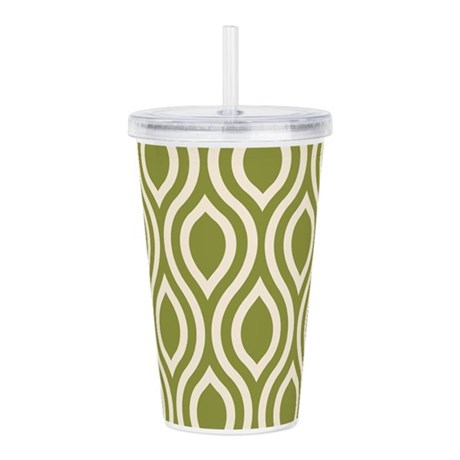 Ogee Olive Green Retro Acrylic Double-wall Tumbler