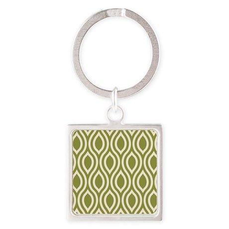 Ogee Olive Green Retro Square Keychain