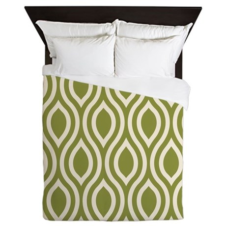 Ogee Olive Green Retro Queen Duvet