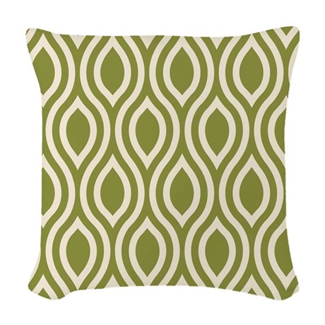 Ogee Olive Green Retro Woven Throw Pillow