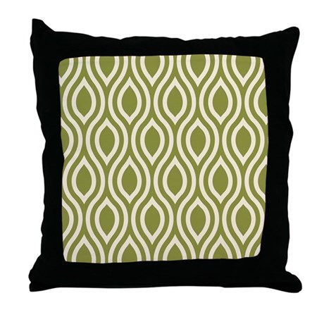 Ogee Olive Green Retro Throw Pillow