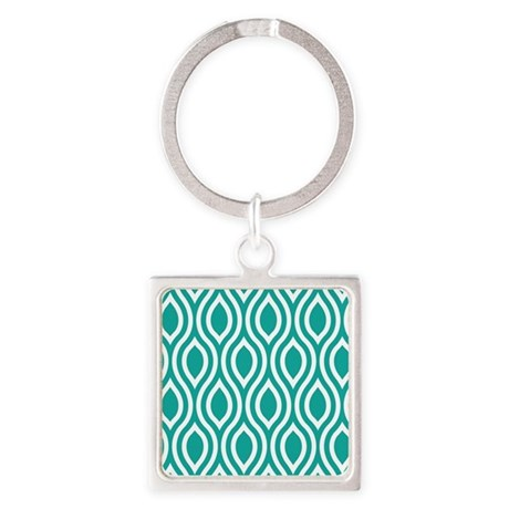 Ogee Teal Retro Square Keychain