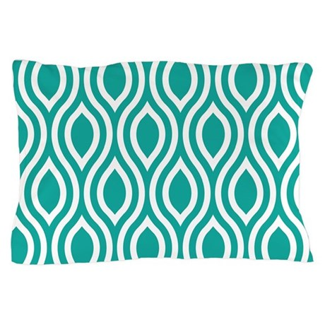 Ogee Teal Retro Pillow Case