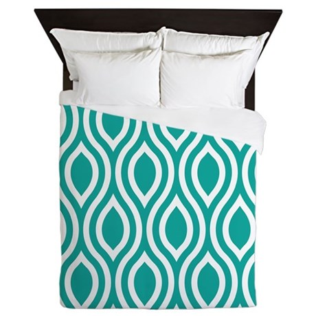 Ogee Teal Retro Queen Duvet