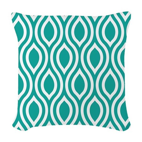 Ogee Teal Retro Woven Throw Pillow