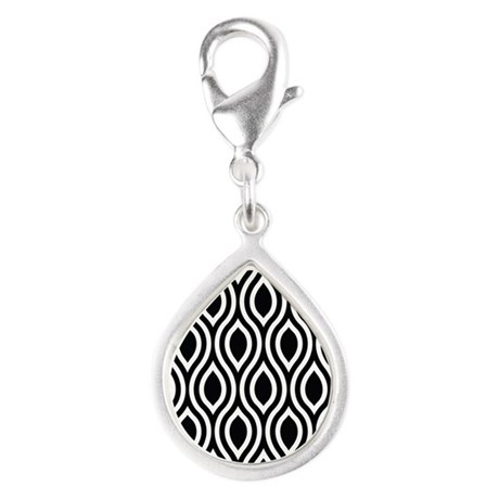 Ogee Retro Black and white Silver Teardrop Charm