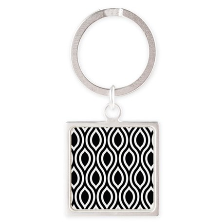 Ogee Retro Black and white Square Keychain