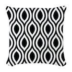 Ogee Retro Black and white Woven Throw Pillow