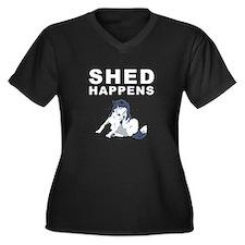 Unique Husky Women's Plus Size V-Neck Dark T-Shirt