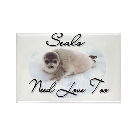 Seals Need Love Rectangle Magnet