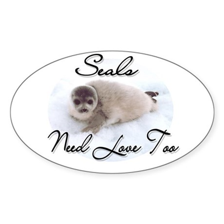 Seals Need Love Oval Sticker