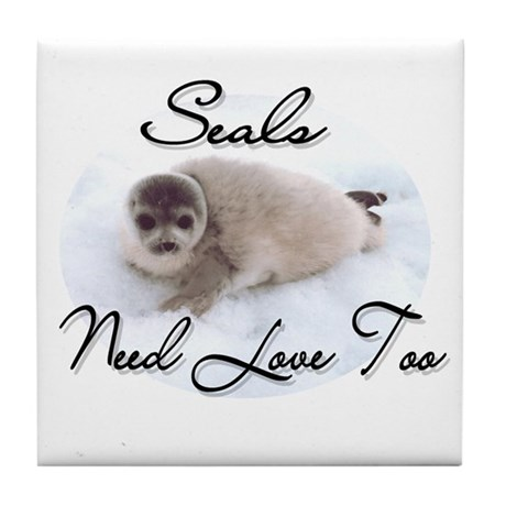Seals Need Love Tile Coaster