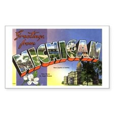 Greetings from Michigan Rectangle Decal