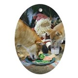 Shiba Christmas Oval Ornament