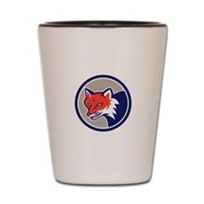 Red Fox Head Angry Circle Retro Shot Glass