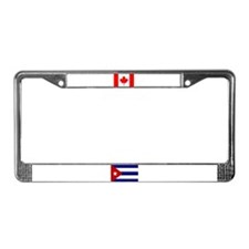 Cuban & Canadian Flags License Plate Frame