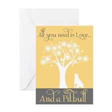 Love and a Pitbull Greeting Cards