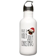 Christmas Santa Pug -  Water Bottle