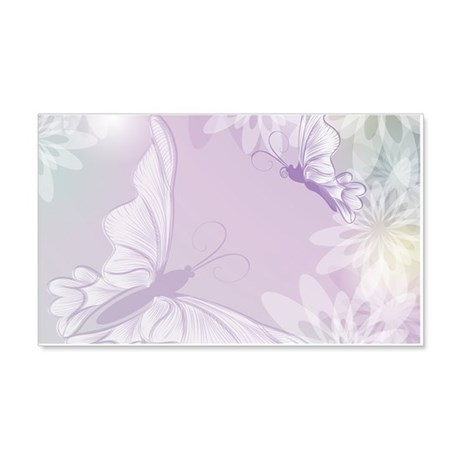 White Butterfly Floral Lavender Wall Decal