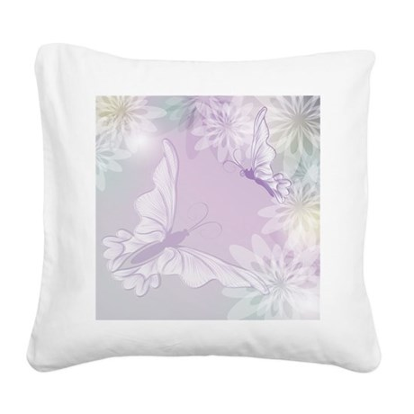 White Butterfly Floral Lavender Square Canvas Pill