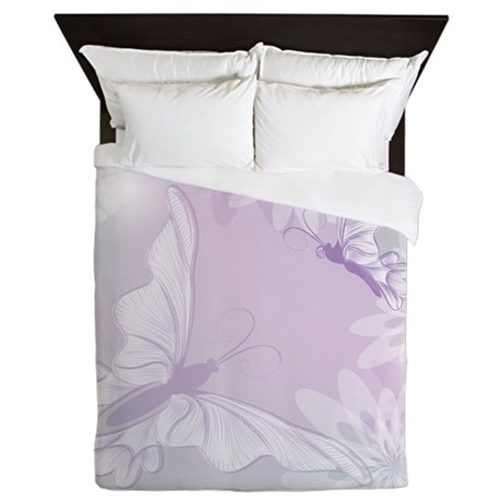 White Butterfly Floral Lavender Queen Duvet
