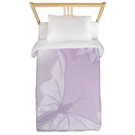 White Butterfly Floral Lavender Twin Duvet