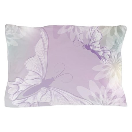 White Butterfly Floral Lavender Pillow Case