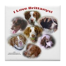 I Love Brittanys! Tile Coaster