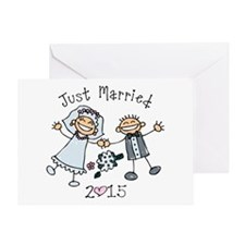 Stick Just Married 2015 Greeting Card