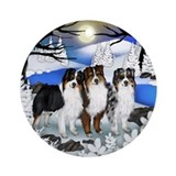 AUSTRALIAN SHEPHERD DOGS RIVER Ornament (Round)