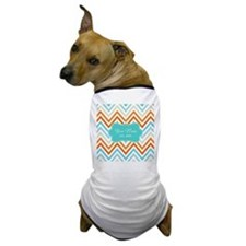 Aqua Grey Orange Chevron Personalized Dog T-Shirt