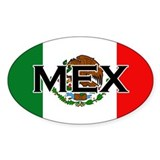 Mexican Flag with Text Oval Bumper Stickers