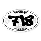 &quot;BROOKLYN 718&quot; Graffiti Oval Decal