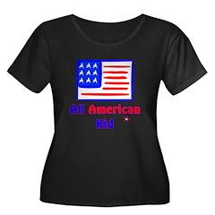 All American Kid Women's Plus Size Scoop Neck Dark