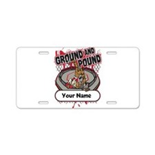 Custom Ground and Pound MMA Aluminum License Plate