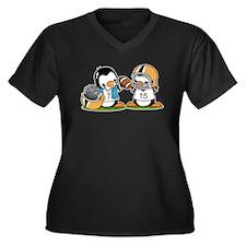 Grid Iron Pe Women's Plus Size V-Neck Dark T-Shirt