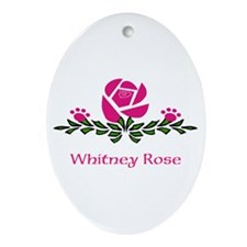 Personalizable Rose Paw Ornament (oval)