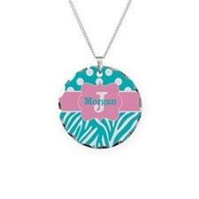 Pink Teal Zebra Dots Personalized Necklace