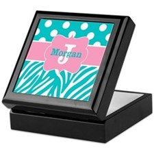 Pink Teal Zebra Dots Personalized Keepsake Box