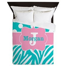 Pink Teal Zebra Dots Personalized Queen Duvet