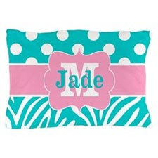 Teal Pink Dots Zebra Personalized Pillow Case