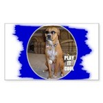 PLAY IT COOL BOXER DOG LOOK Rectangle Sticker