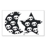 MOON AND STAR SKULL Rectangle Sticker