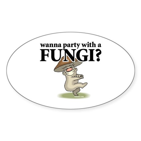 Party with Fungi Oval Sticker