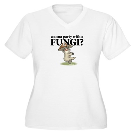 Party with Fungi Women's Plus Size V-Neck T-Shirt