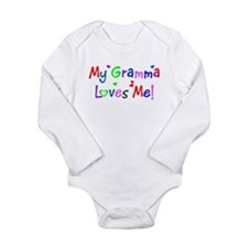 Unique Grandma loves me Long Sleeve Infant Bodysuit