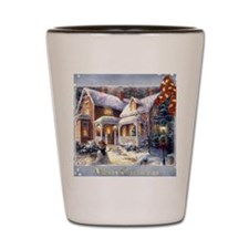 Merry Christmas snowglobe Shot Glass