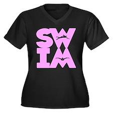SWIM BLOCK Women's Plus Size V-Neck Dark T-Shirt