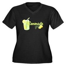 Lemonade Girl Women's Plus Size V-Neck Dark T-Shir